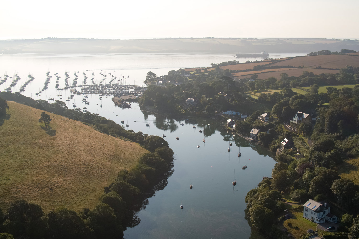 Drone Photograph of Mylor Creek leading to Mylor Yacht Harbour