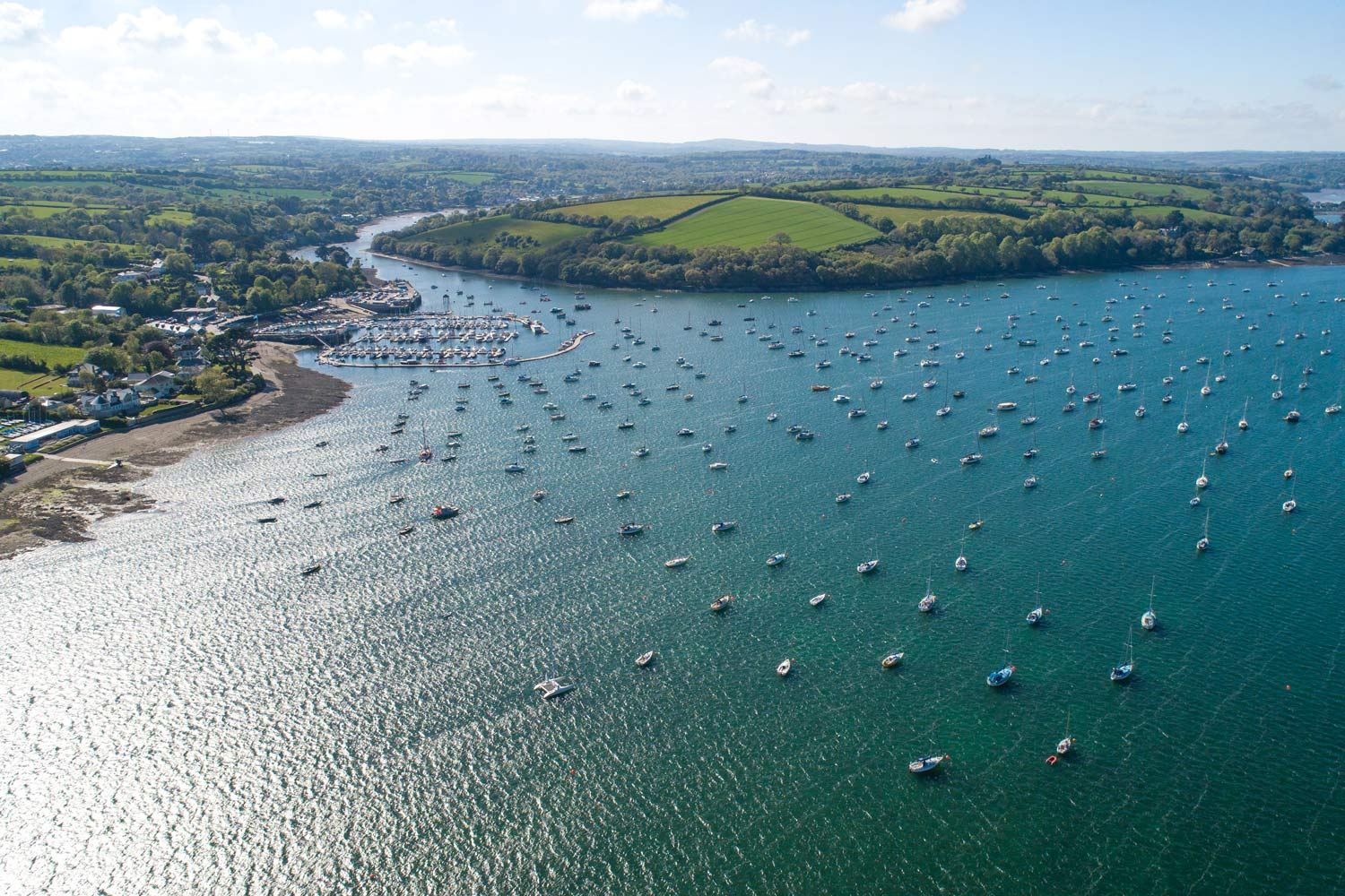 Drone Photograph of Mylor Yacht Harbour and the Falmouth Estuary