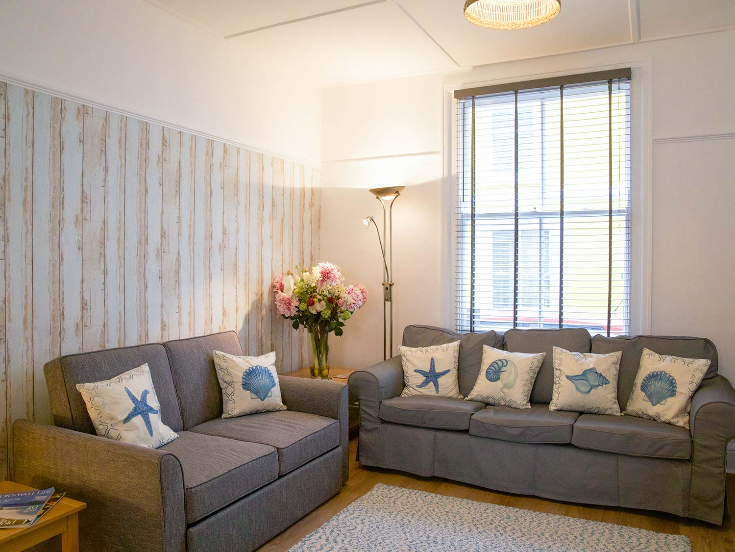 Living Area with Comfortable Sofas at Slipway Cottage